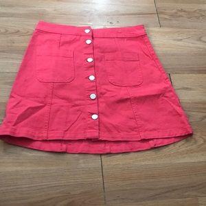 H&M pink button skirt